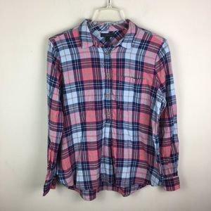 J. Crew classic popover in smoky coral plaid
